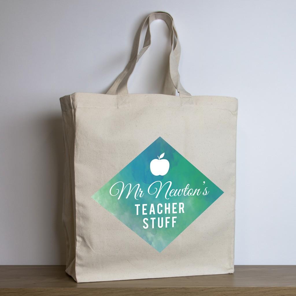 personalised teacher tote bag – green watercolour design