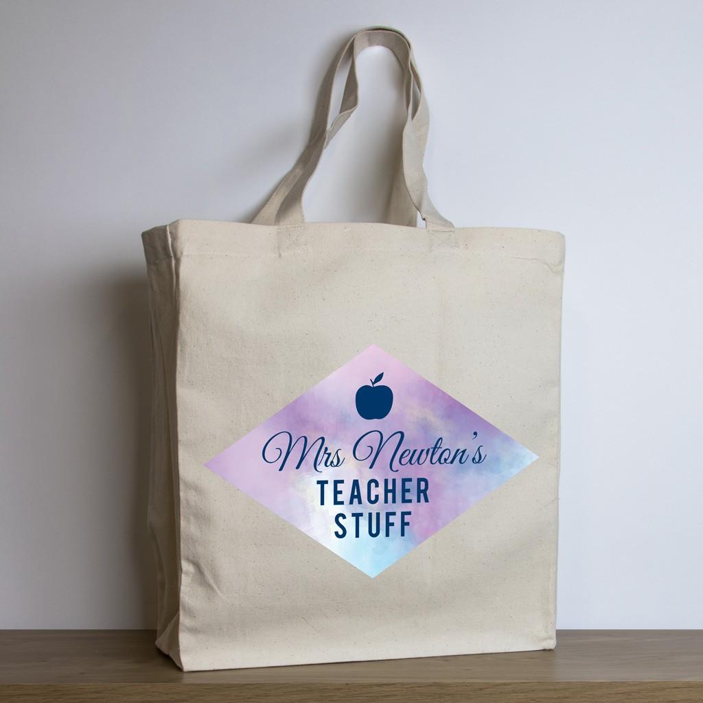 personalised teacher tote bag – purple watercolour design