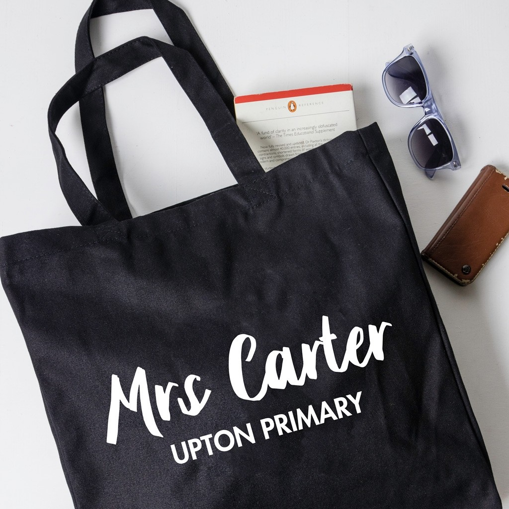 Personalised Teacher Gift Tote Bag - Script