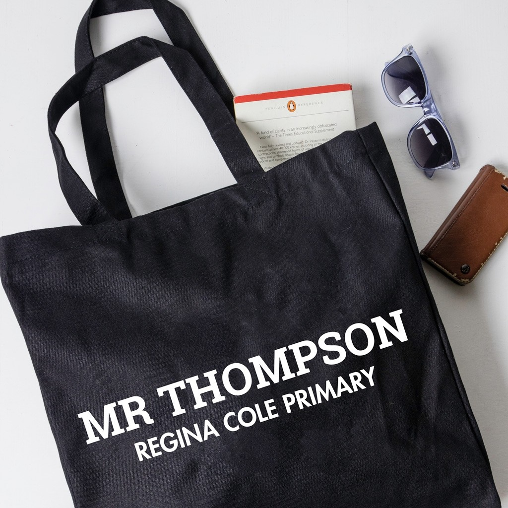 Personalised Teacher Gift Tote Bag - Slab Serif