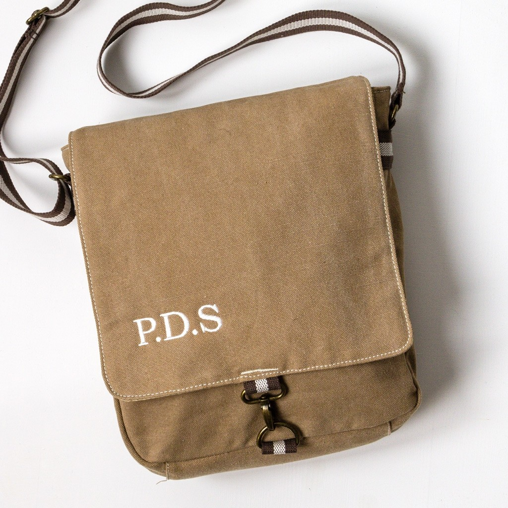 Personalised Vintage Style Messenger Bag