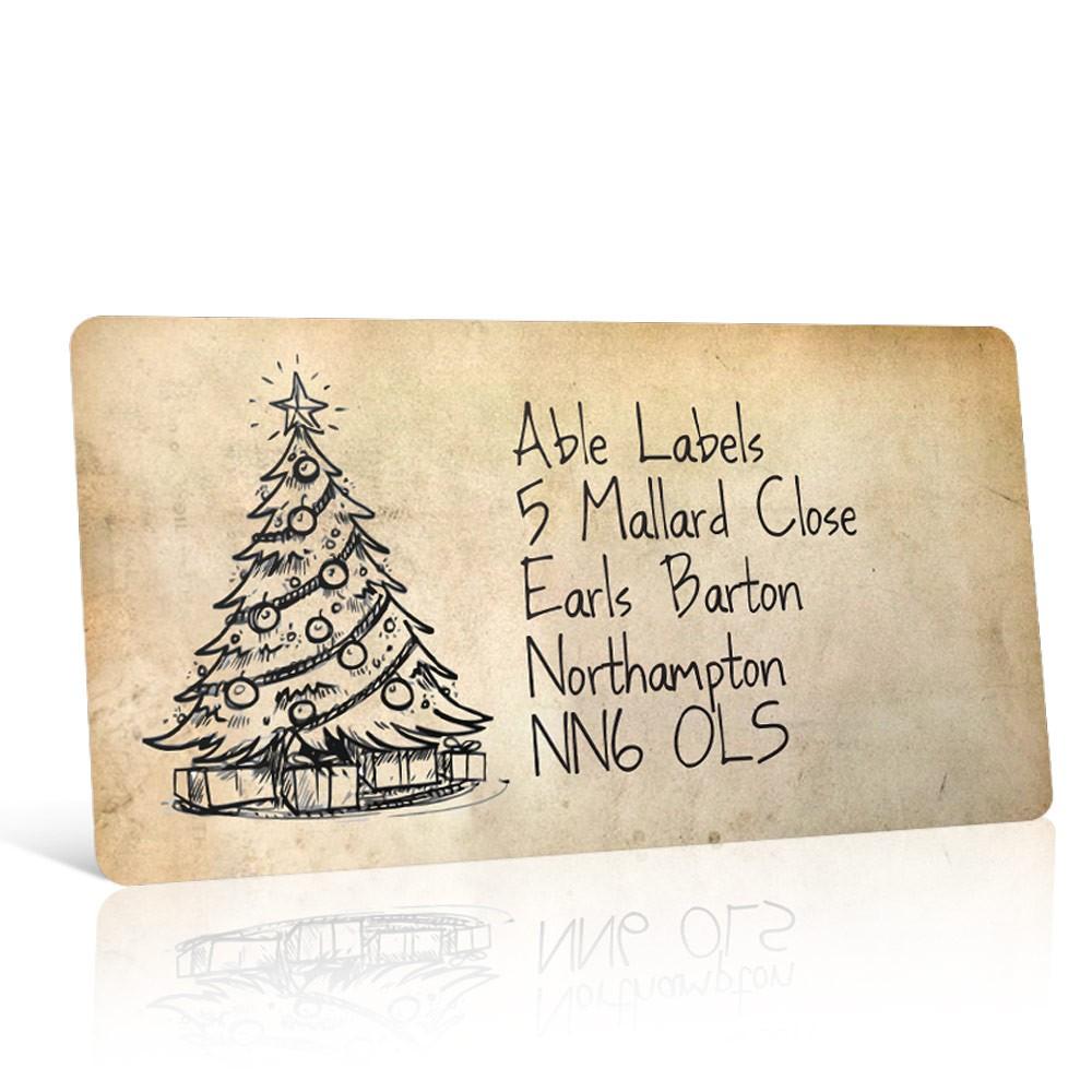 Christmas A4 Sheet Labels - Vintage Christmas Tree