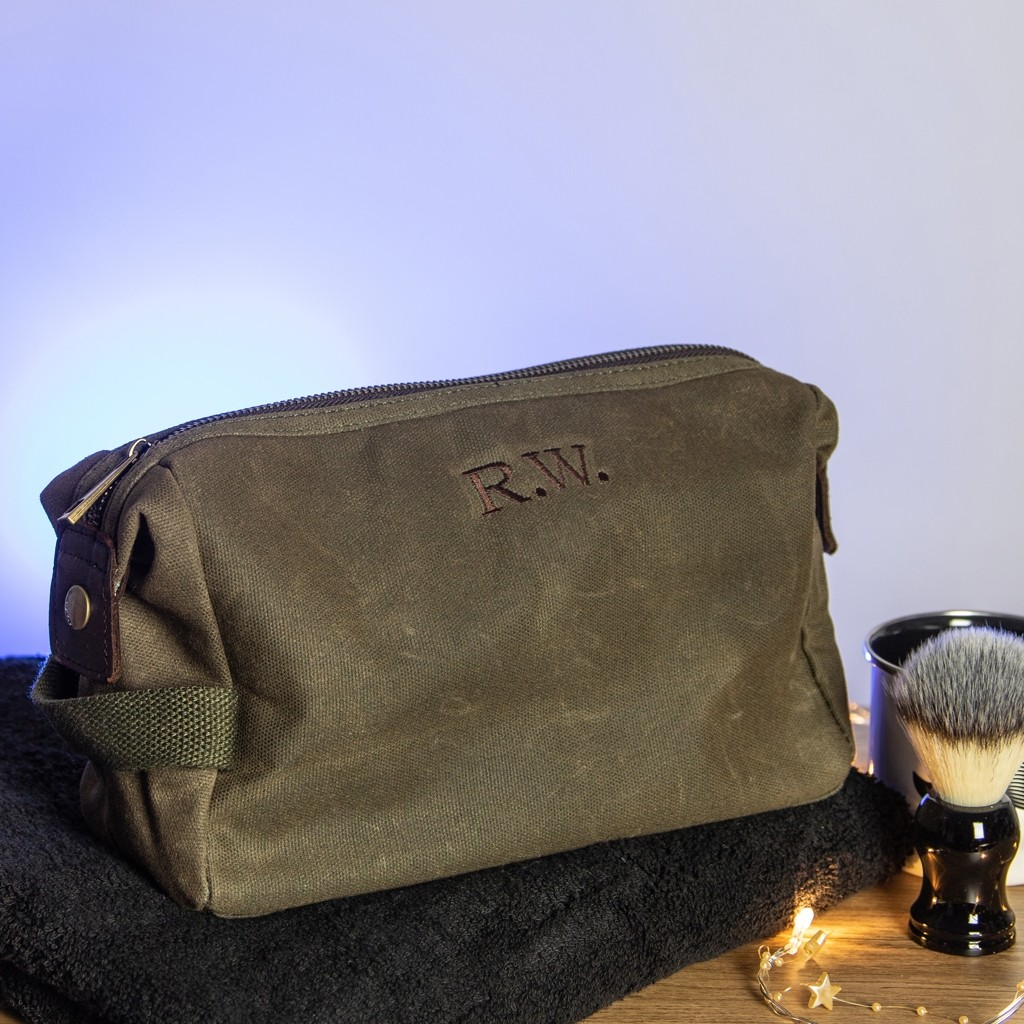 Embroidered Waxed Wash Bag