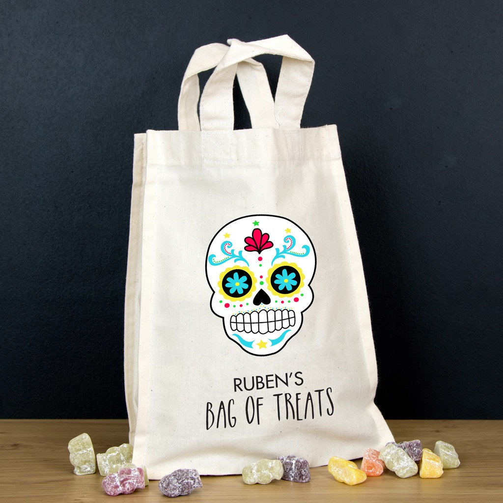 Personalised Halloween Trick or Treat Bag - White Skull