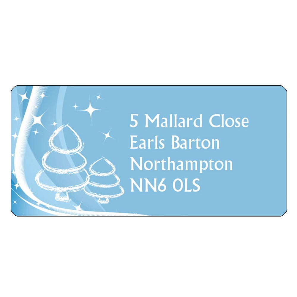 Christmas A4 Sheet Labels - White Tree