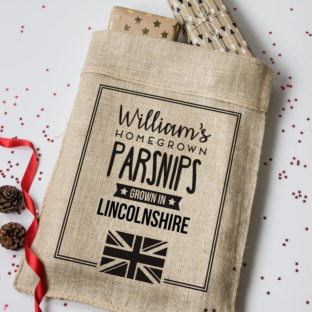 Personalised Grown in Britain Hessian Sack