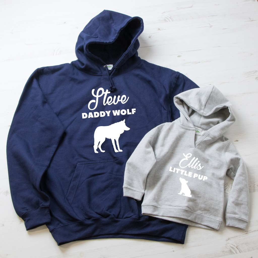 Daddy Wolf & Little Pup Hoodie Set