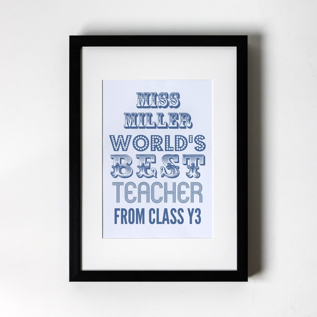 World's Best Teacher Blue - Personalised Art Print