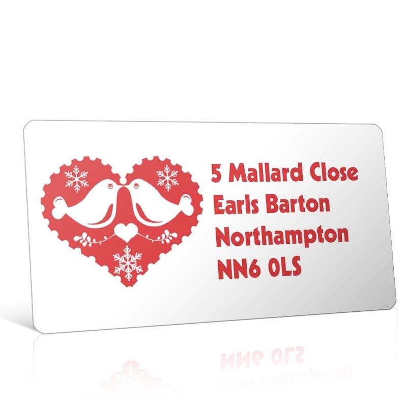 Christmas A4 Sheet Labels - Love Birds in Heart
