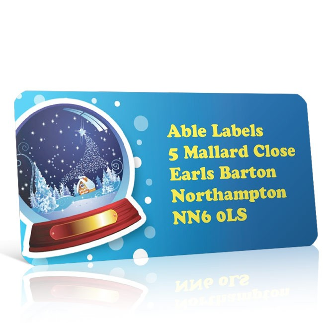 Christmas A4 Sheet Labels - Snow Globe