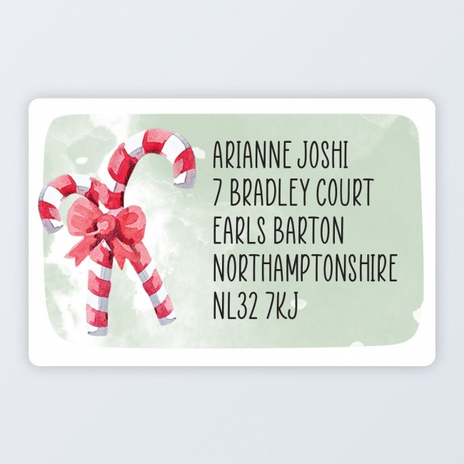 "Christmas Roll Address Label 76x50mm (3""x2"") Candy Cane"