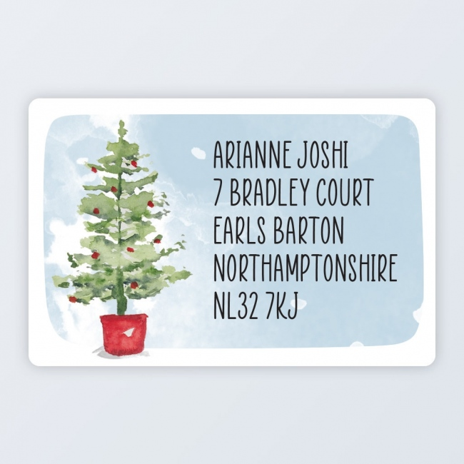 "Christmas Roll Address Label 76x50mm (3""x2"") Tree"