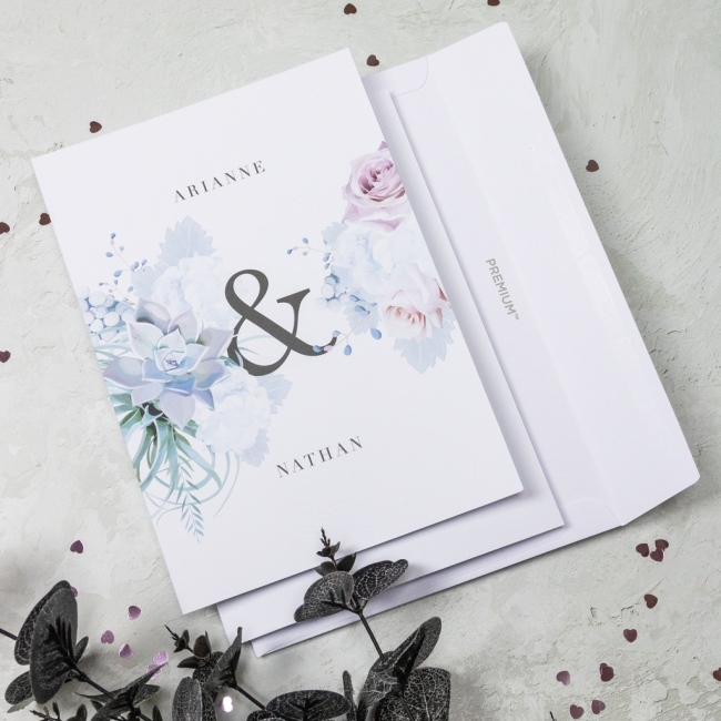 Pastel Floral Personalised Wedding Invitation