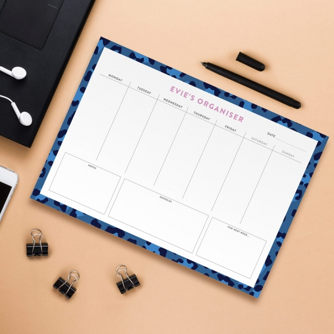 Personalised A4 Weekly Desk Pad - Animal Print Design