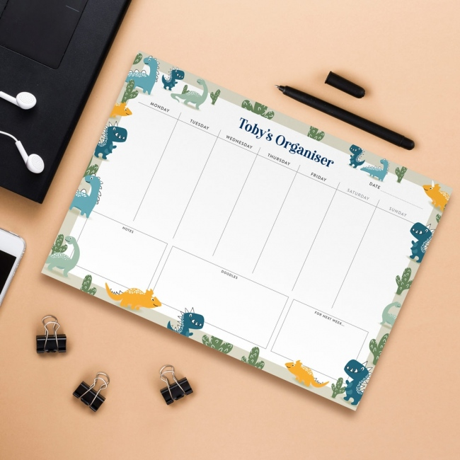 Personalised A4 Weekly Desk Pad - Dinosaurs Design