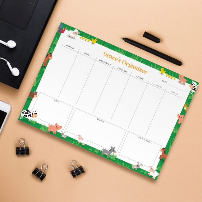 Personalised A4 Weekly Desk Pad - Farm Animals Design