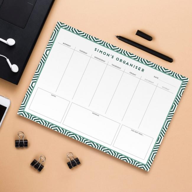 Personalised A4 Weekly Desk Pad - Geometric Design