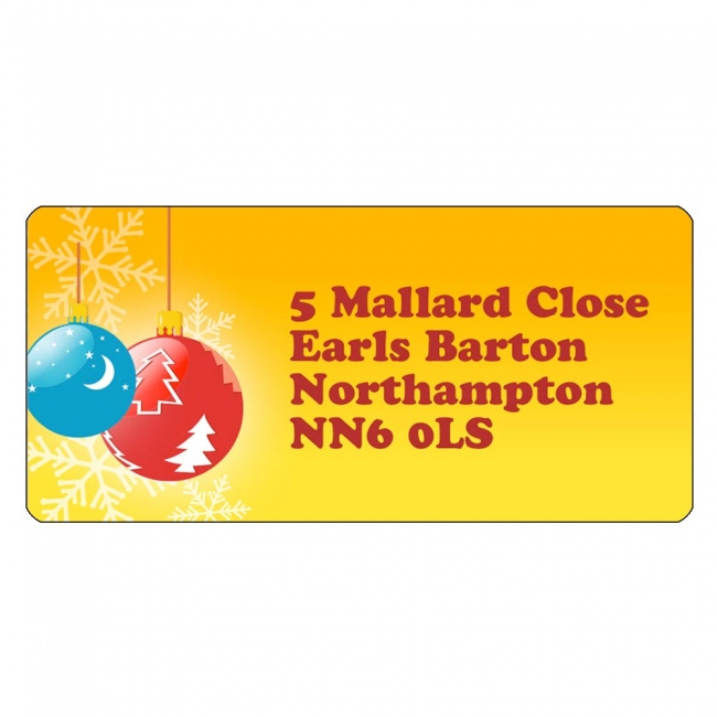 Christmas A4 Sheet Labels - Bauble