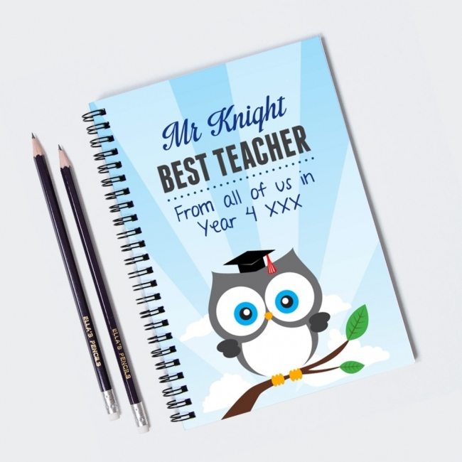 Owl Teacher Notebook & 12 Graphite Pencils