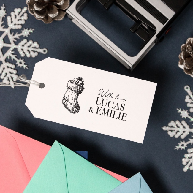 Christmas Self Inking Large Rubber Stamp - Stocking
