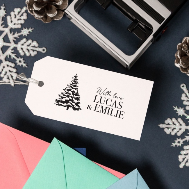 Christmas Self Inking Large Rubber Stamp - Tree