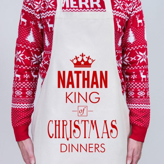 Christmas Personalised Apron - King of Christmas Dinners