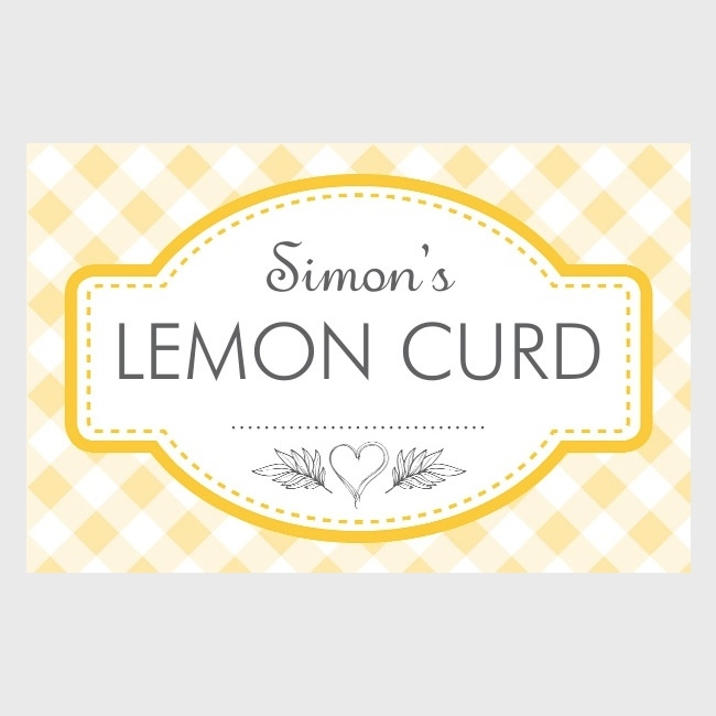 Gingham Yellow - Jam Jar Labels