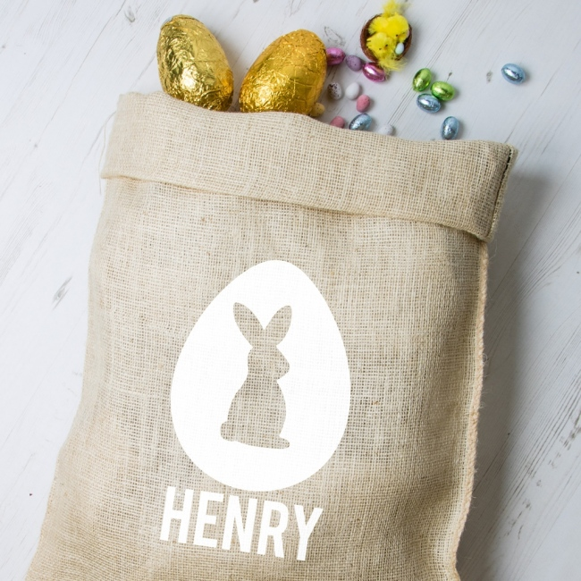 Personalised Easter Hessian Sack - Bunny 2