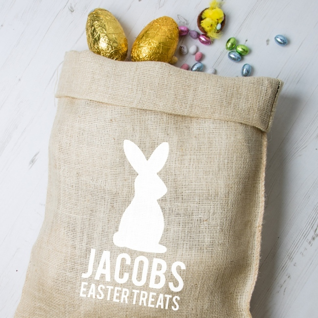 Personalised Easter Hessian Sack - Bunny 4