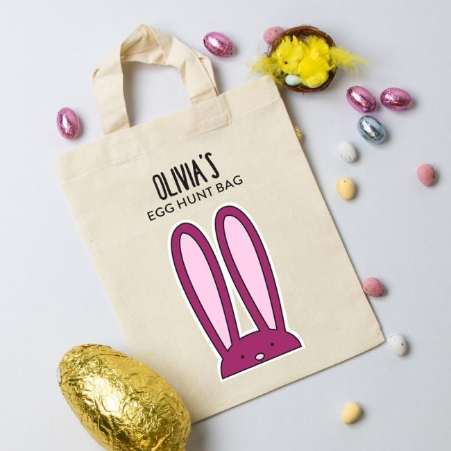 Personalised Easter Mini Tote Bag - Bunny Pink