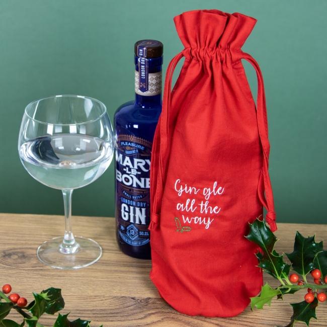 Embroidered Gift Bottle Bag