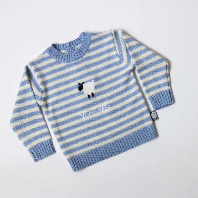 Luxury Merino Wool Stripy Round Neck Jumper - Stripy Blue Front