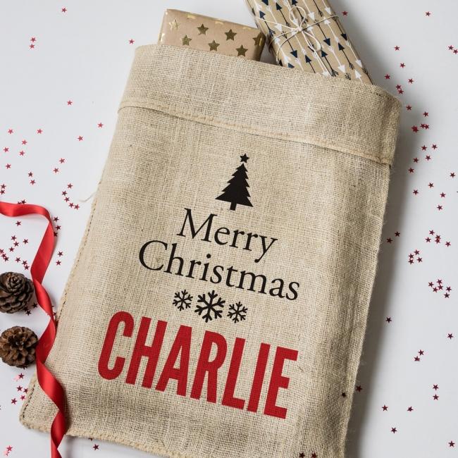 Personalised Christmas Tree Hessian Sack