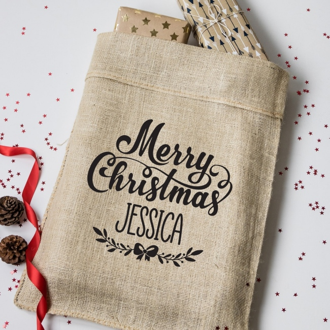 Personalised Merry Christmas Hessian Sack