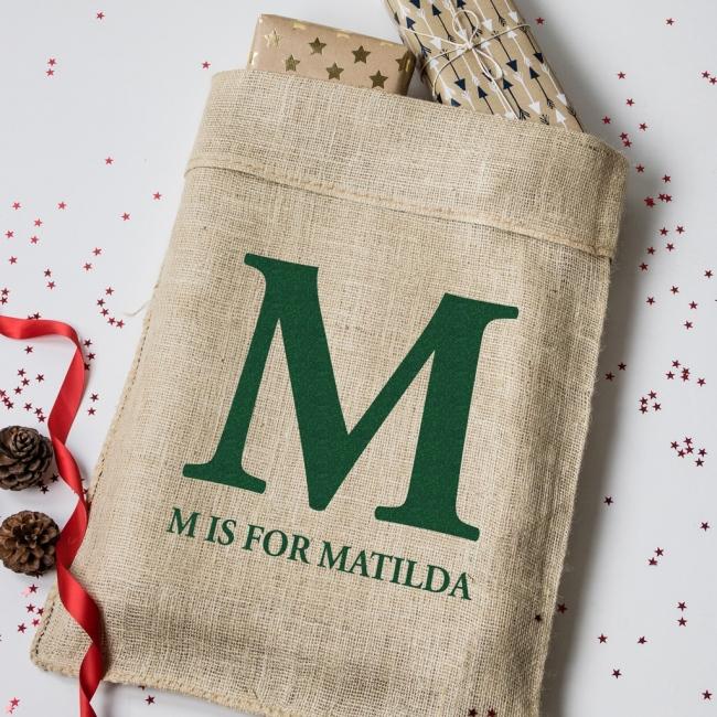 Personalised Christmas Monogram Hessian Sack