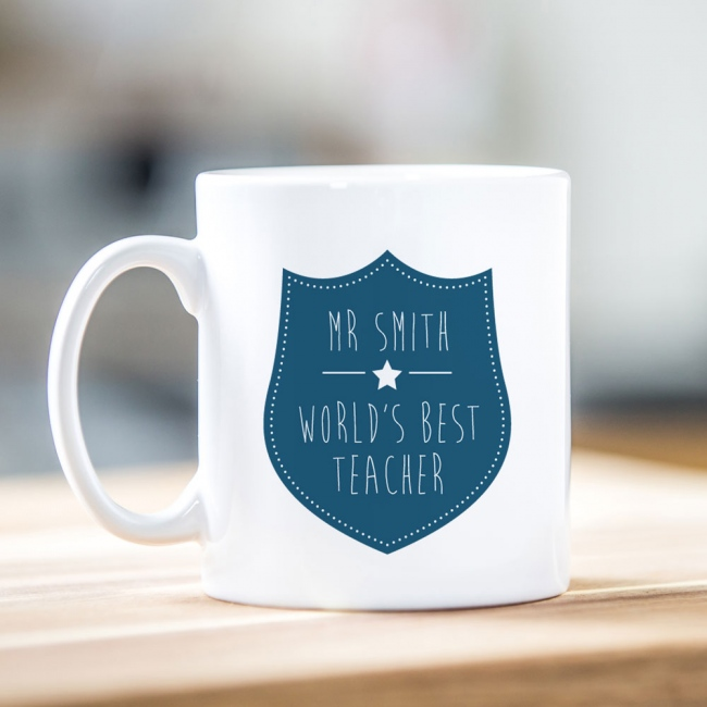 Navy Shield Teacher Mug