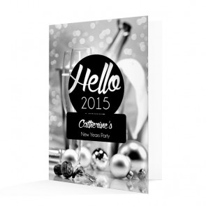 New Year's Invitation Card - Black & White Champagne