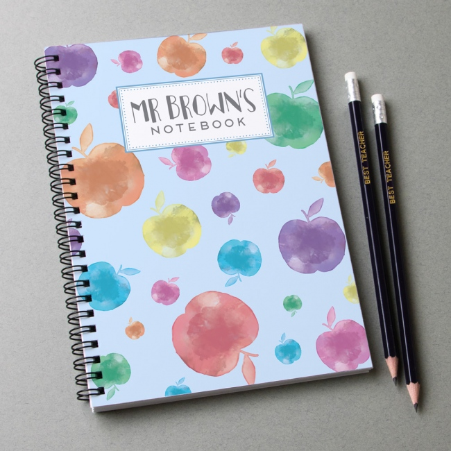 Personalised Notebook and pencils - apple print design