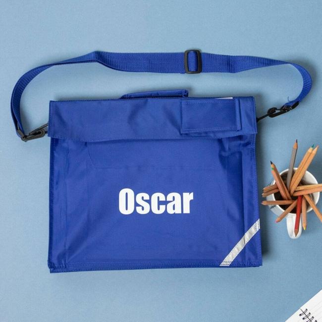 Personalised School Book Bag With Long Handle