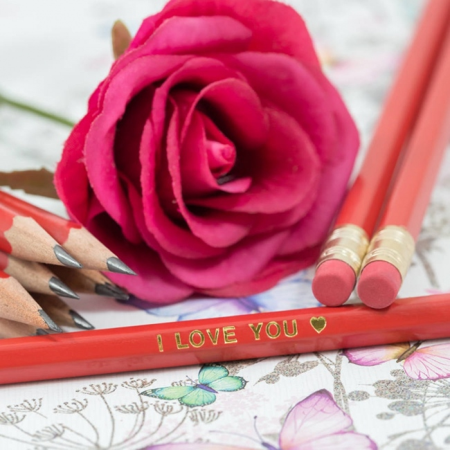 12 Personalised Valentine's Day Pencils