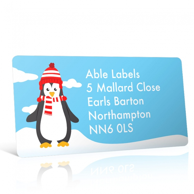 Christmas A4 Sheet Labels - Penguin in the Snow