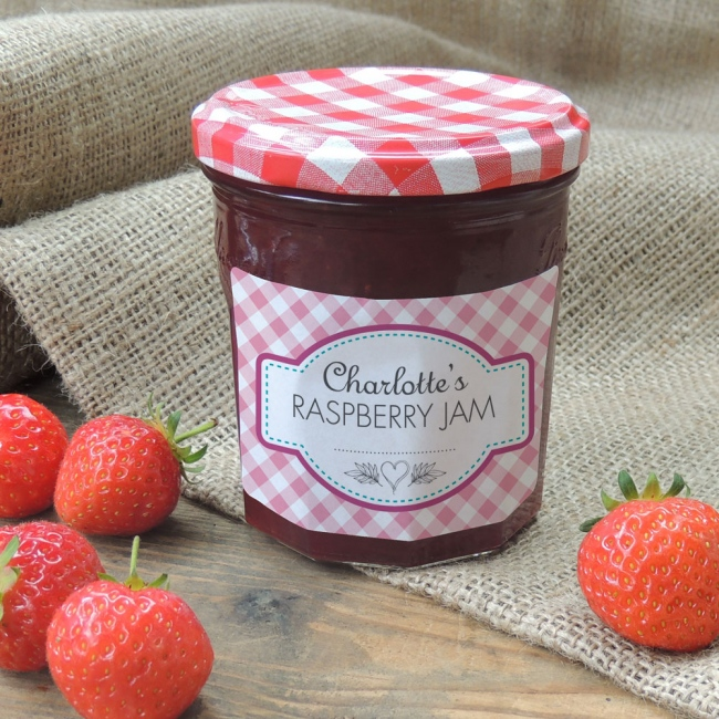 Gingham Pink - Jam Jar Labels