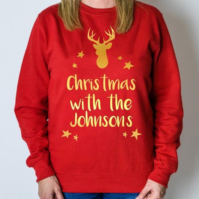 Personalised Christmas Jumper - Reindeer (Red)