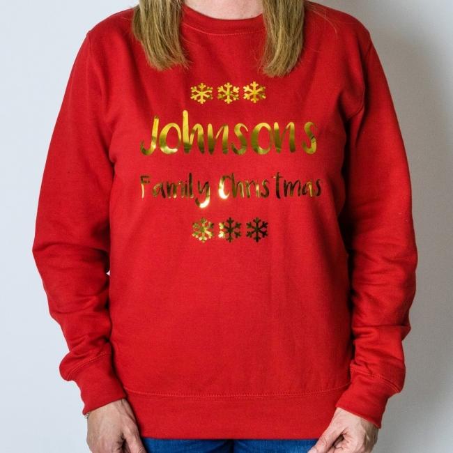 Personalised Christmas Jumper - Snowflake (Red)
