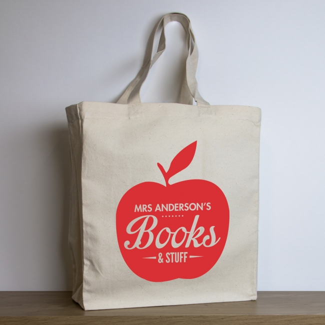 Personalised Teacher Tote Bag – Red Apple