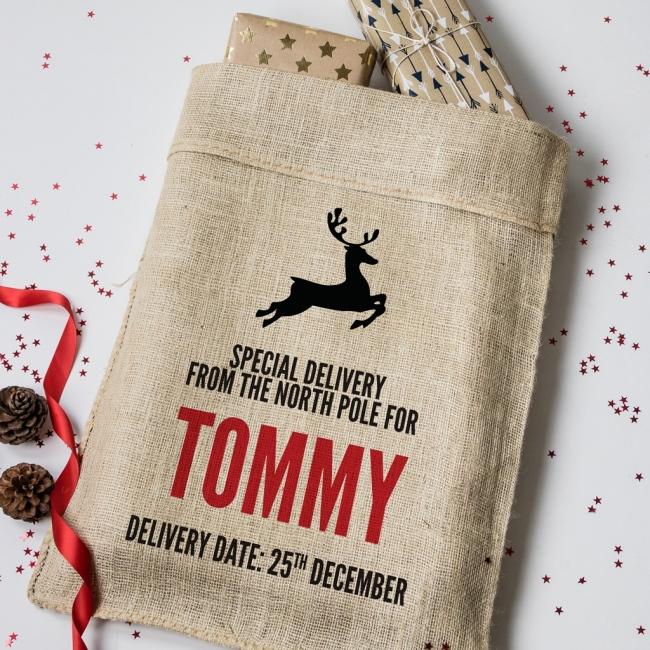 Personalised Christmas Reindeer Hessian Sack