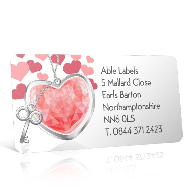 Pre Designed Hearts & Keys Address Label on A4 Sheets