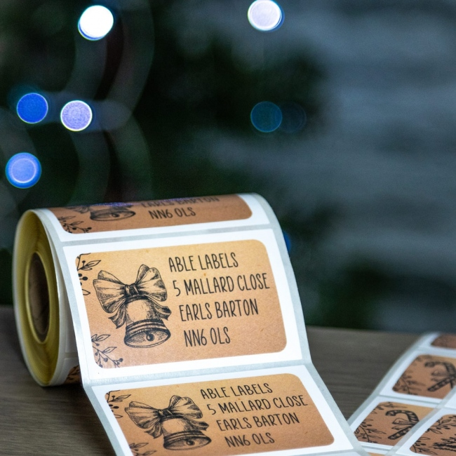 Kraft Style Christmas 76x50mm Roll Labels