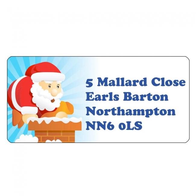 Christmas A4 Sheet Labels - Santa Chimney