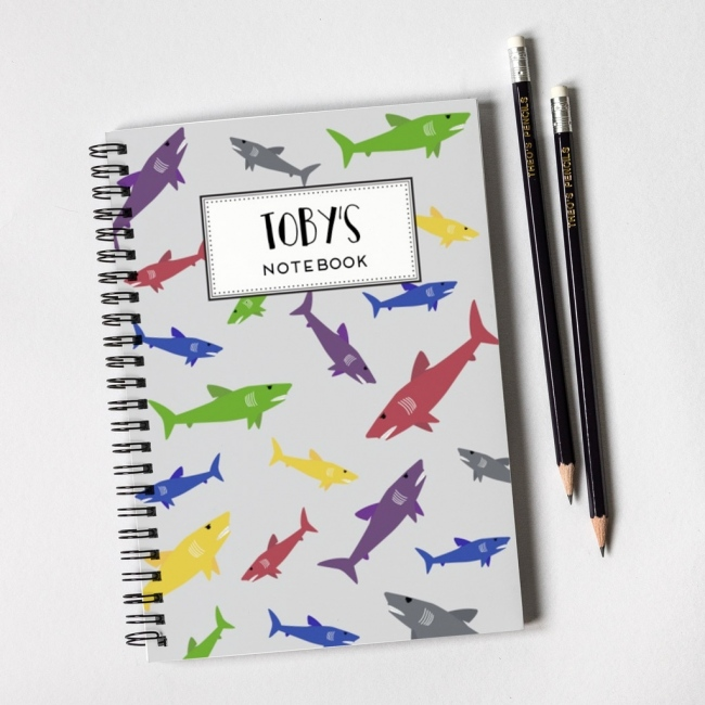 Shark Pattern Notebook & Pencil Gift Set
